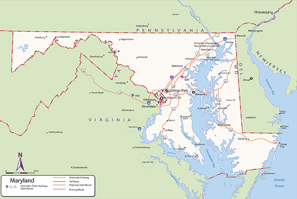 Descriptive map of Maryland